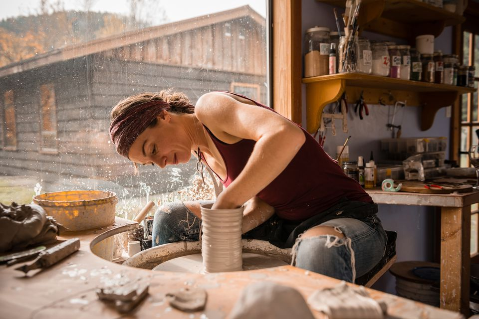 Woman in her pottery studio
