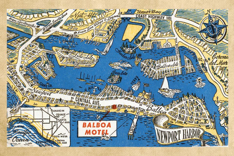 Antique Postcard from Balboa Motel, Newport Beach