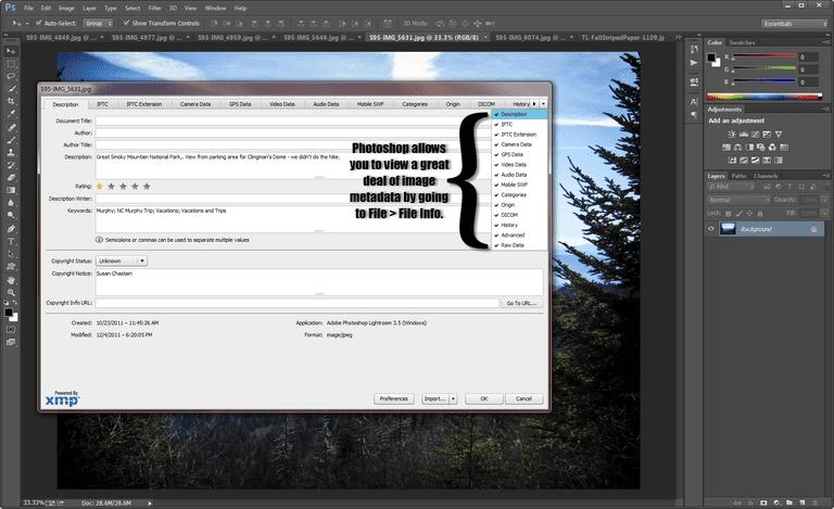 Metadata viewed in Photoshop