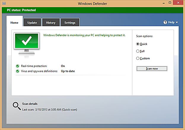 Windows Defender user interface.