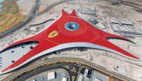 The odd domed roof of the Ferrari World indoor theme park.