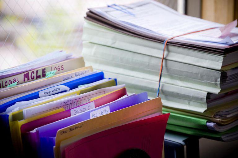 Stacks and racks of files and folders