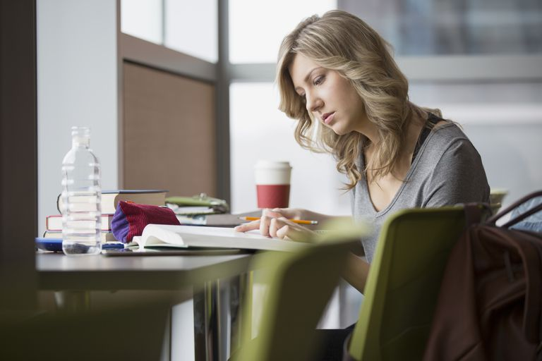 College student studying at table