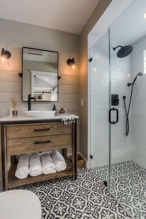 16 modern farmhouse bathrooms for Farmhouse bathroom design