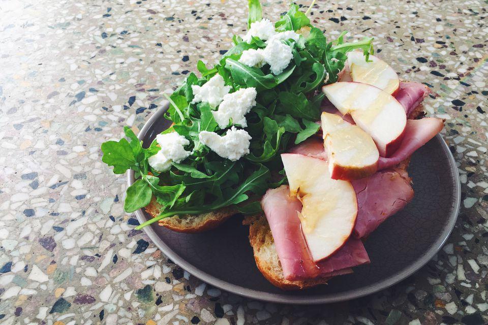 Goat Cheese, Apple, Rosemary Ham + Honey Sandwich with Fresh Arugula