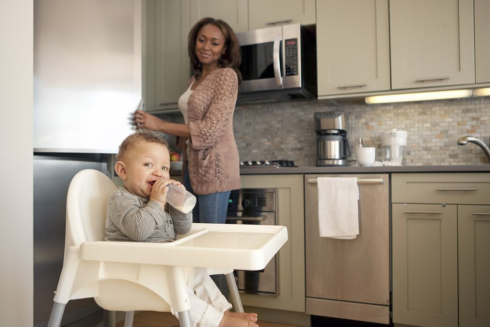 Mom and Baby in High Chair