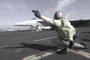 Airforce controller directing air traffic