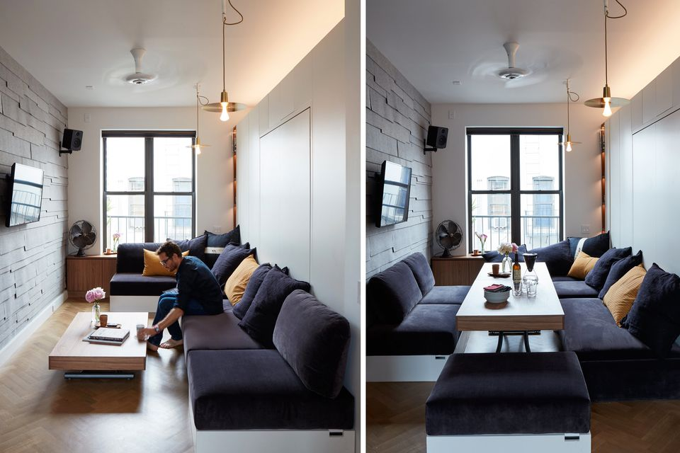 12 perfect studio apartment layouts that work - Apartment size living room furniture ...