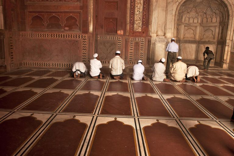 Muslims offer prayer inside Taj Mahal