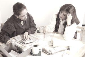 Women preparing taxes