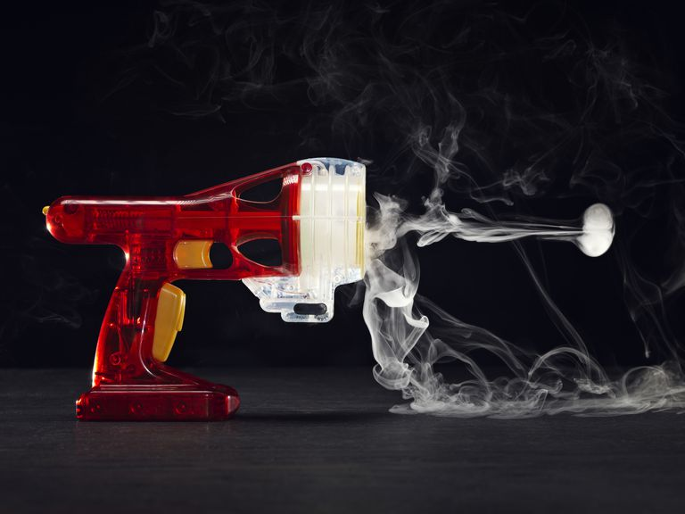 Smoke machines or fog machines produce visible vapor.