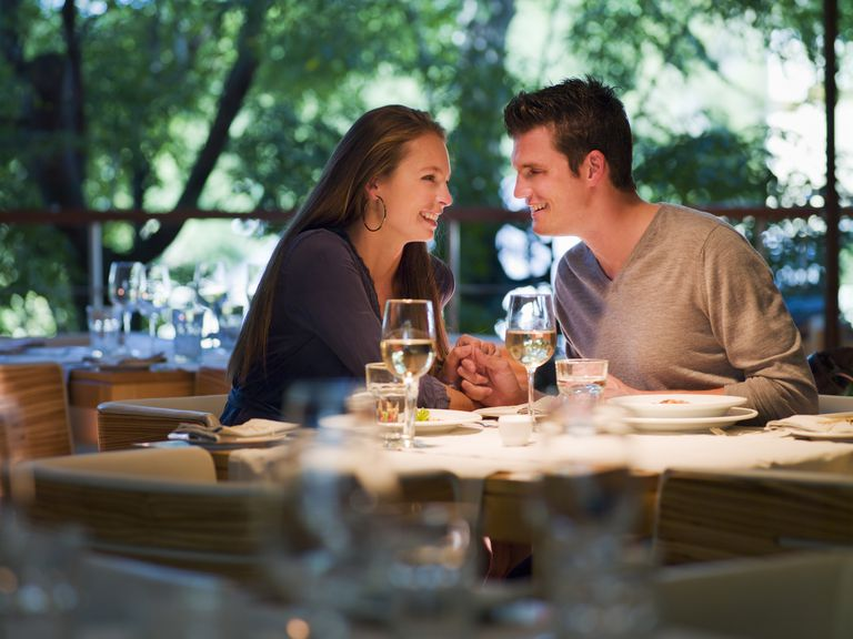 Intimate couple on a date