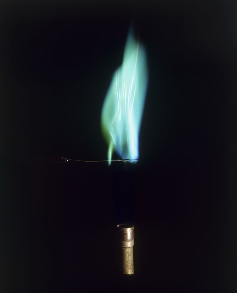 This is a blue-green flame test result from a copper compound.
