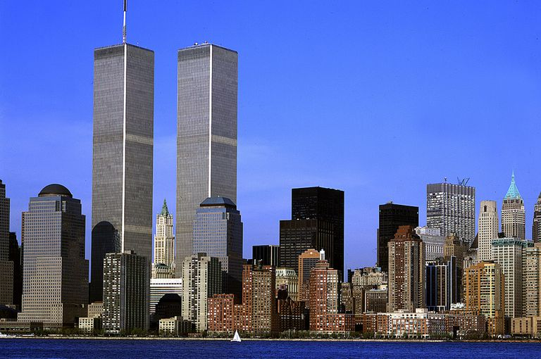Twin Towers of the World Trade Center and Lower Manhattan Before September 11, 2001