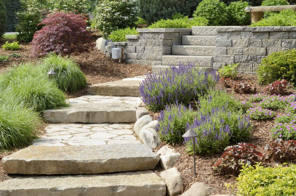 Stone Garden Steps Masonry steps 3 ideas for diyers using brick stone stone steps going through beds of colorful plants workwithnaturefo