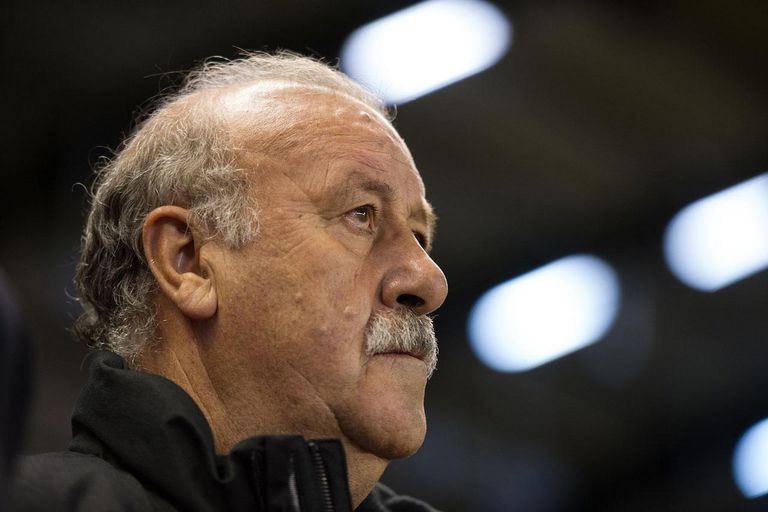 ALBACETE, SPAIN - OCTOBER 15: Spain's head coach Vicente del Bosque looks on before the start of the Spain v Georgia Group I FIFA 2014 World Cup Qualifier at Carlos Belmonte stadium on October 15, 2013 in Albacete, Spain.