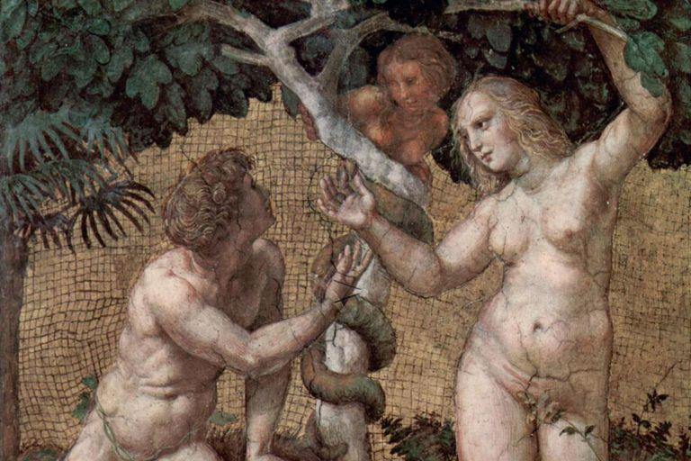 Here Adam and Eve are tempted to eat from the Tree of Knowledge. Here the tempter is shown as Lilith.