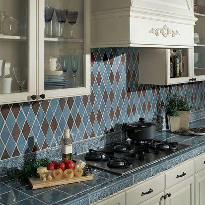 The best backsplash materials for kitchen or bathroom for Blue and brown kitchen