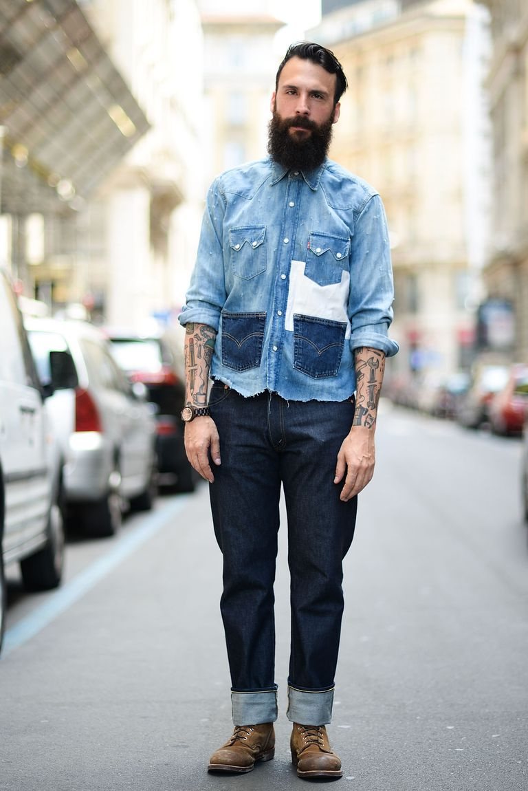 Cuffed jeans for men