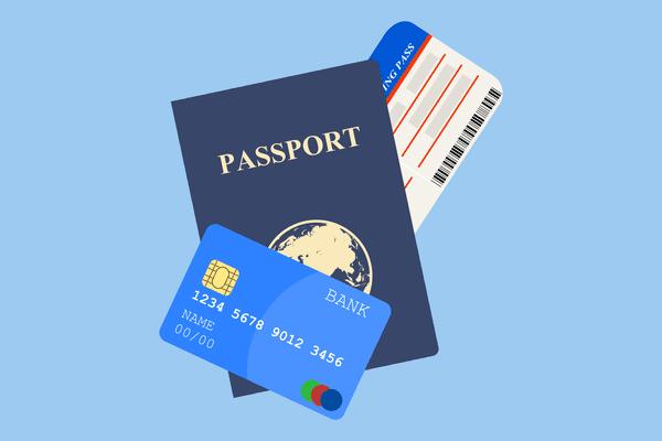 Credit card, passport, airplane ticket
