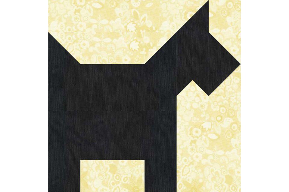 12 Inch Scottie Dog Quilt Block Pattern