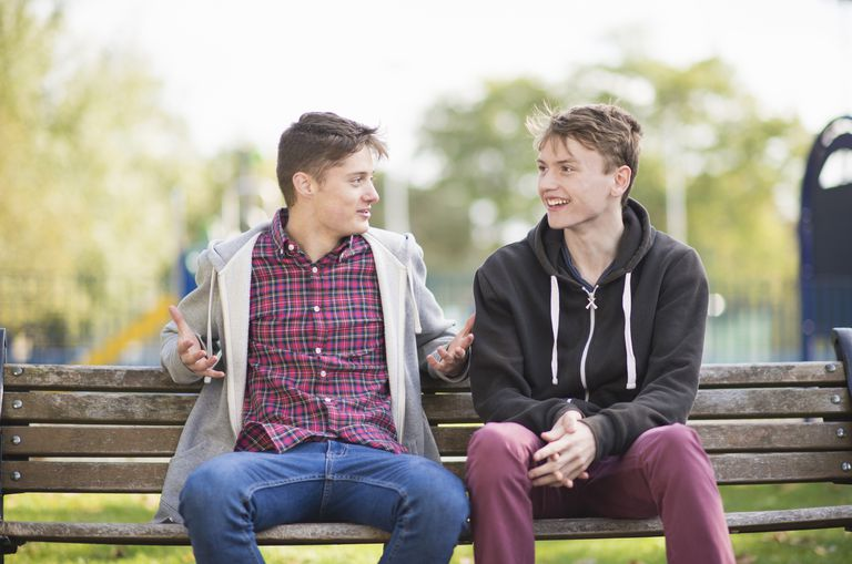 Two young male friends chatting on park bench