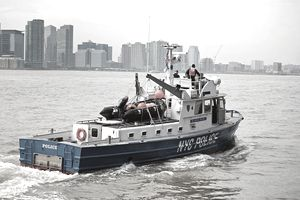 NYPD Police Boat, P.O. Kenny Hansen, patrolling the Hudson River