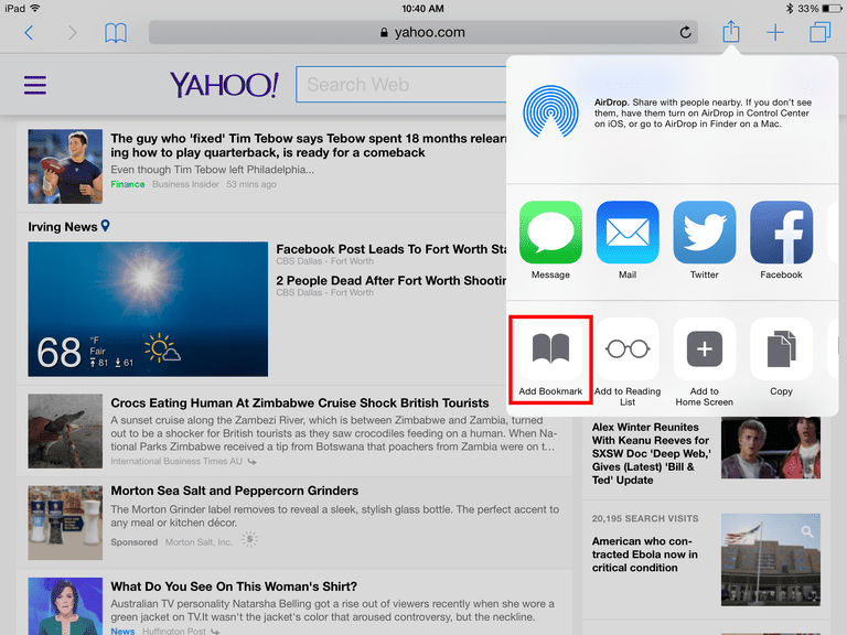 How to bookmark a website in the ipad 39 s safari browser Where can i make a website