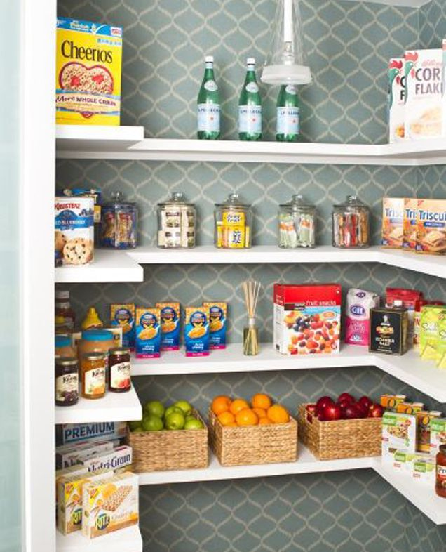 kitchen pantry. Kitchen Pantry with Pretty Wallpaper Ideas to Help You Organize Your