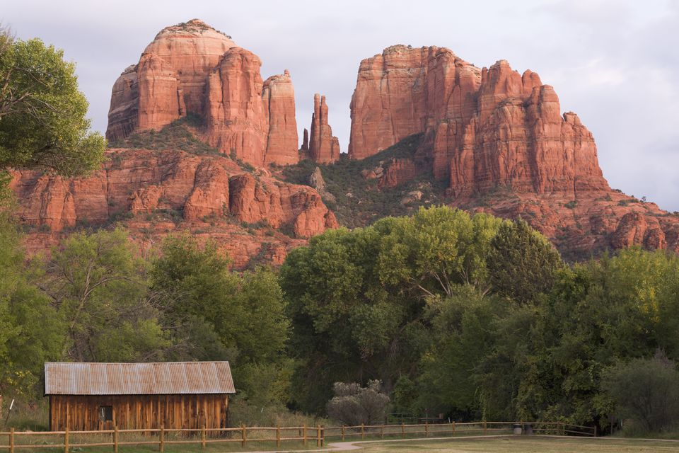 Cathedral Rock looms over valley in Red Rock State Park, Sedona, AZ