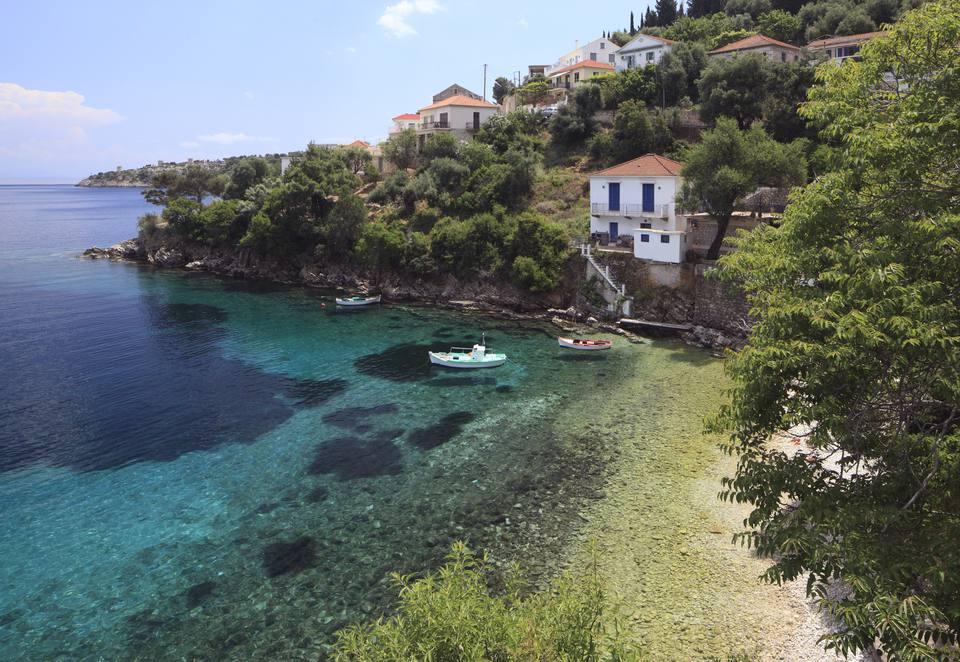 Greece, Ithaca, Kion, Town by sea