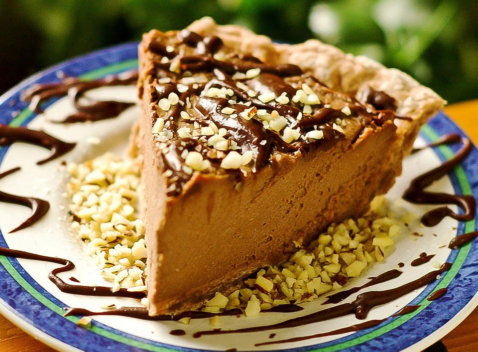 Vegan peanut butter pie made with silken tofu