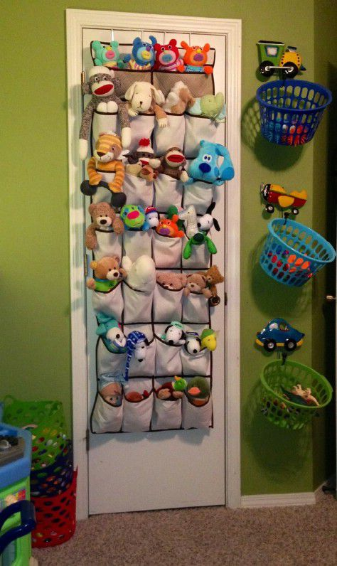 Store toys in a shoe organizer