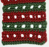 Grid Lace Scarf Crocheted in Red and Green Yarn