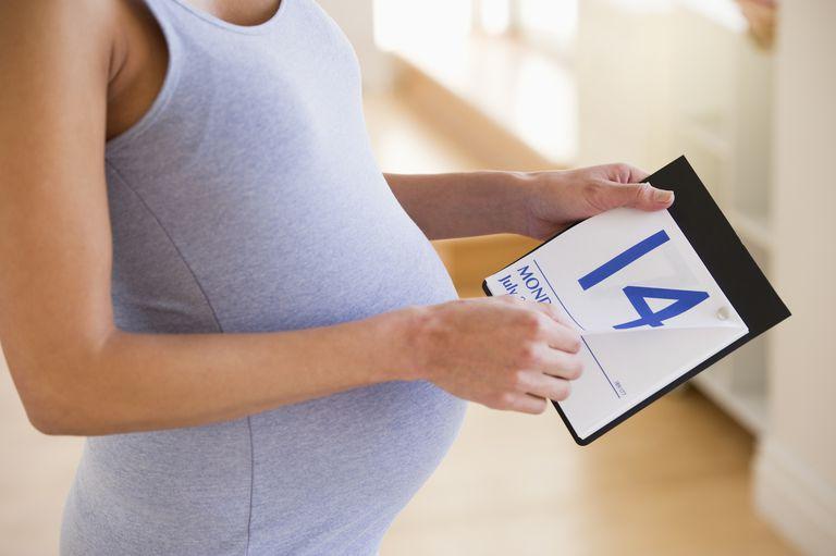Pregnant woman looking a calendar