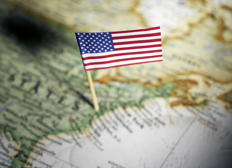 United States flag in map