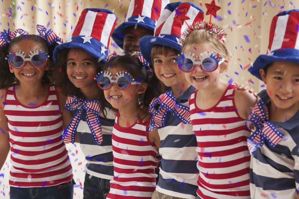 Kids Celebrating 4th of July Holiday