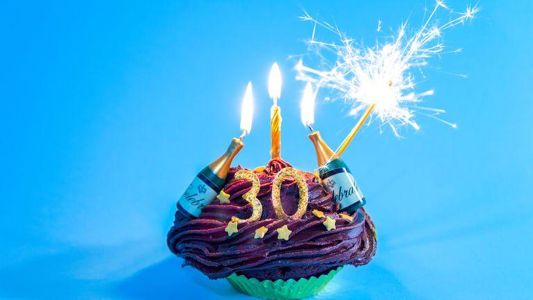 30th birthday celebratory cupcake.