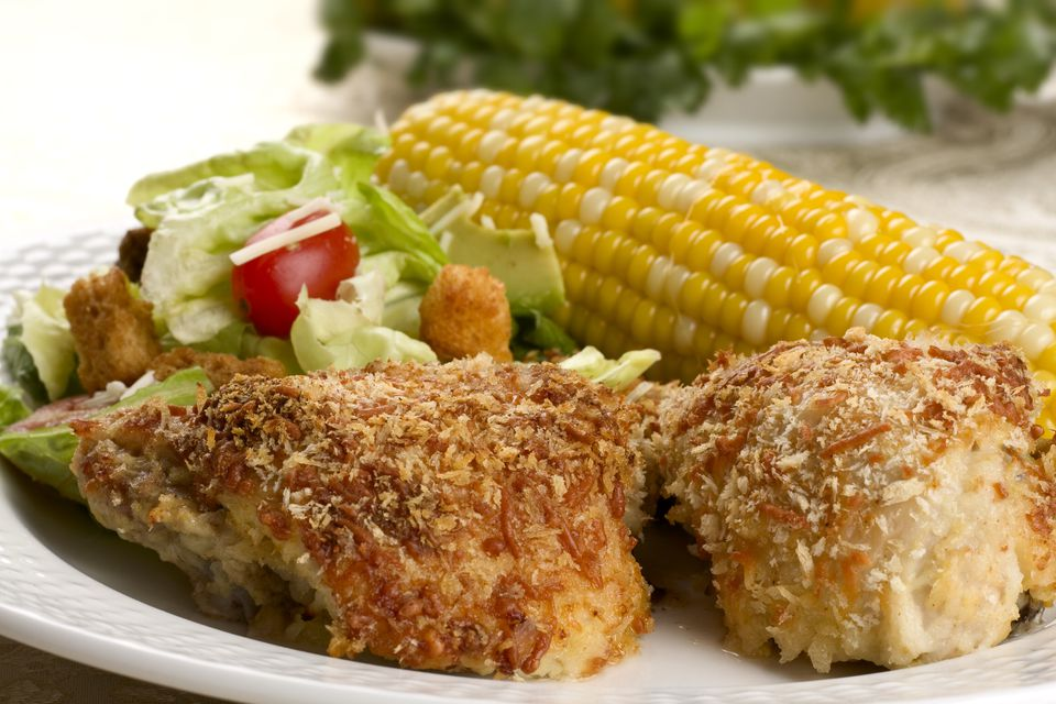 Panko fried chicken with corn on the cob
