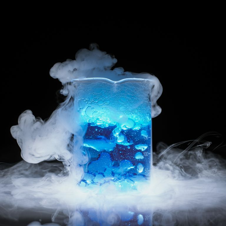 Here you can see the solid, liquid, and gas states of matter.