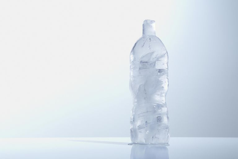 frozen water in bottle
