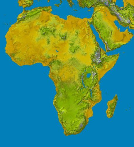 Topographical Physical Map Of Africa