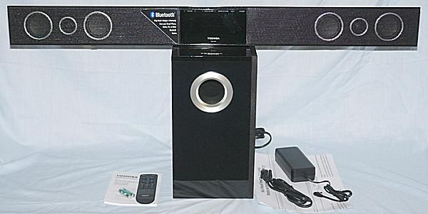 Toshiba SBX4250 Sound Bar Speaker System with Accessories and Documentation