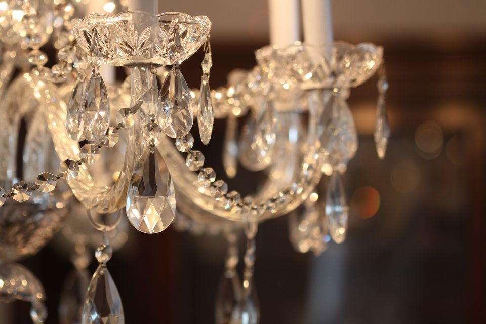 Love sparkles in crystal chandelier