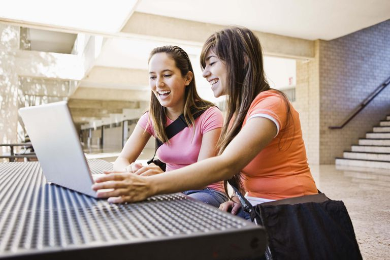 College students with laptop computer