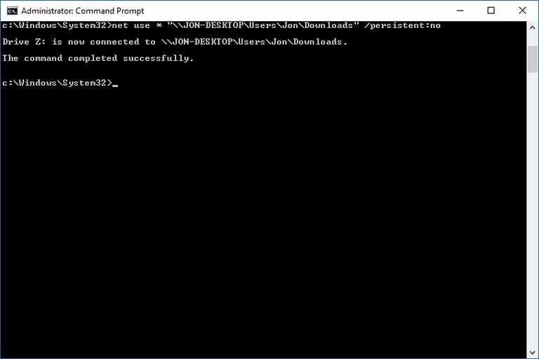 Screenshot of the net use command in Windows 10