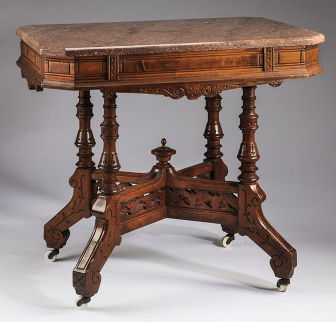 Eastlake Marble Topped Table - Identifying Eastlake Furniture From The Victorian Era