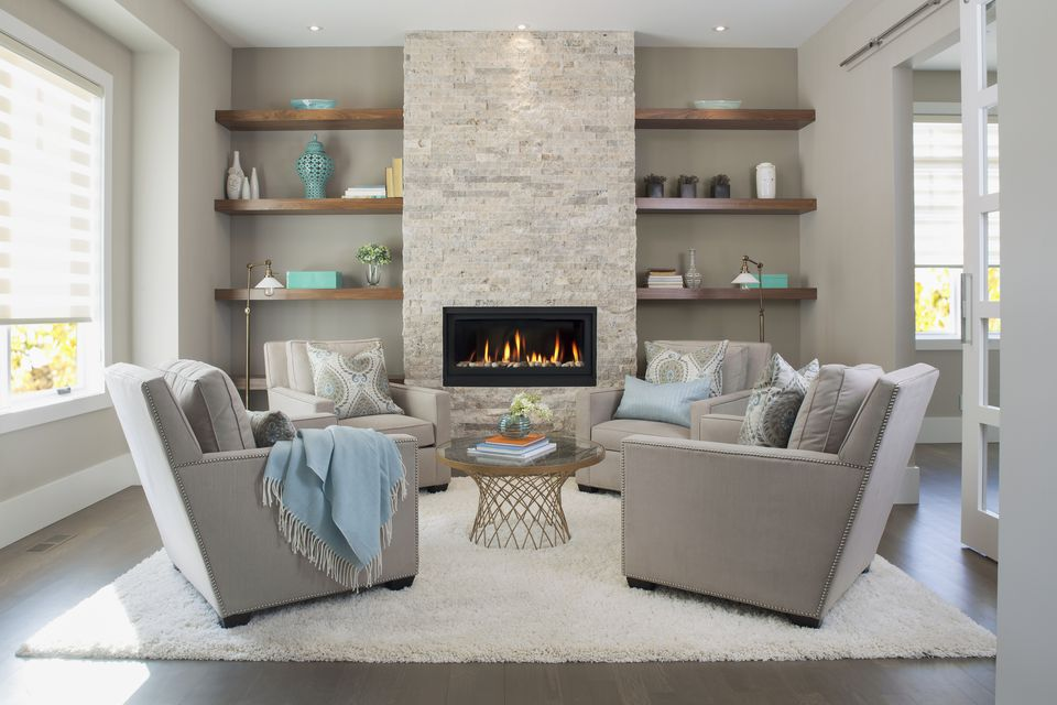 Elegant living room with fireplace