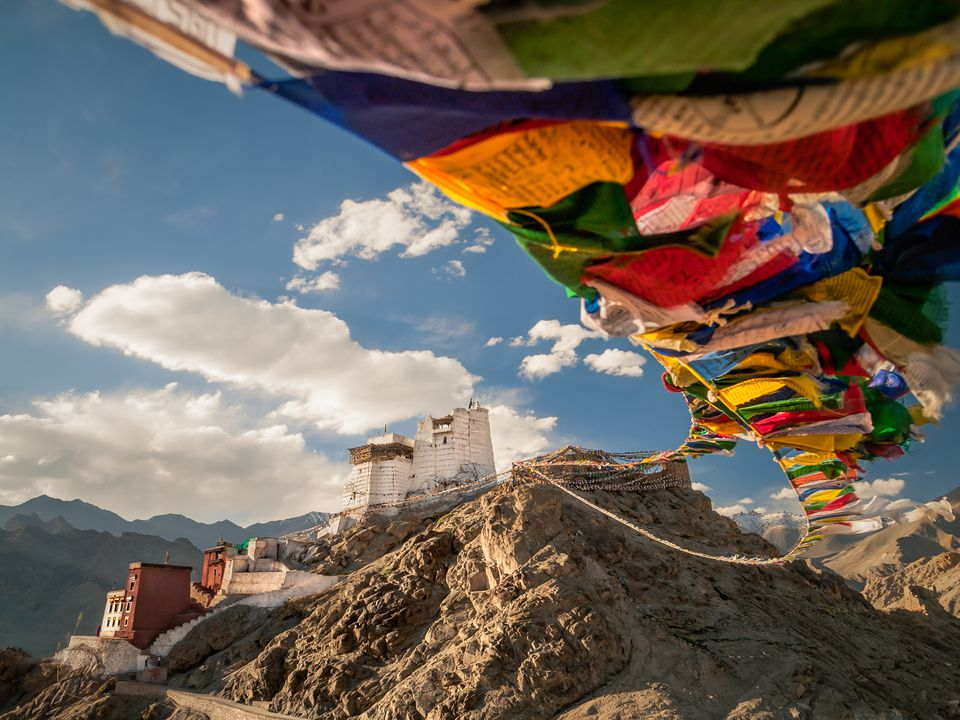 Buddhist prayer flags in Namgyal Tsemo Gompa. Leh, Ladakh, Jammu & Kashmir, India.
