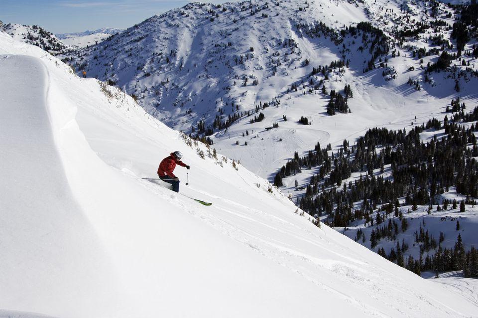 USA Utah Salt Lake City Alta Ski Resort Off Piste Skier, one of the only resorts in America for skiers only